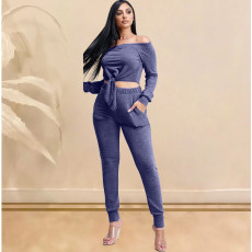 Sexy Slash Neck Crop Top And Pants 2 Piece Outfit KSN-5095