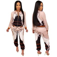 Casual Printed Zipper Tracksuit Two Piece Sets TR-992