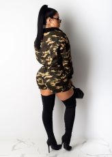 Camouflage Print Long Seeves Two Piece Short Sets LUO-3041