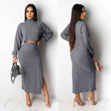 Solid Turtleneck Crop Top Split Maxi Skirt 2 Piece Sets NY-8872