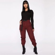 Casual High Waist Pockets Sashes Cargo Pants SH-3721