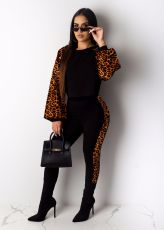 Leopard Print Long Sleeves Casual 2 Piece Sets LUO-6250