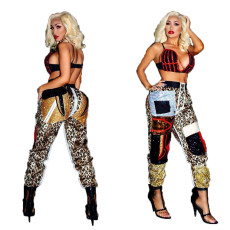 Leopard Print High Waist Casual Straight Pants OMY-5188